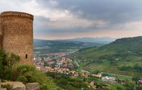 Panoramic view of Sferracavallo town and Italian valley from Orvieto castle. Italy Europe