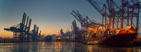 Container terminal in the port of Hamburg in the morning in freezing temperatures