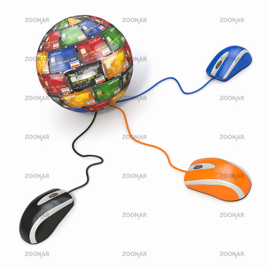 E-commerce. Credit cards and computer mouse. 3d