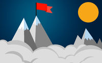 Red flag on a mountain peak, success concept business