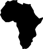 rough silhouette of African continent isolated on white