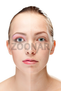 woman's face, beauty concept, power of make-up