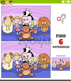 differences educational game with cartoon cuddly toys