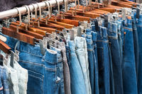 jeans in second hand clothes store - denim pants