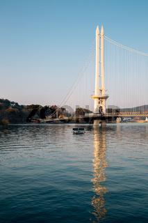 Yedang Lake and Yedangho Suspension Bridge in Yesan, Korea
