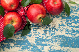 Red Apples Fresh Green Leaves Composition