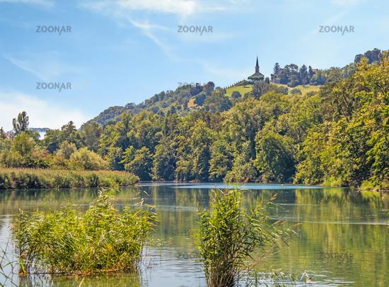 High-Rhine near Buchberg-Rüdlingen, Canton of Schaffhausen, Switzerland