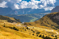 View over Gardena Pass, Dolomites, South Tyrol
