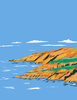 Marloes Peninsula in Pembrokeshire Coast National Park with St Brides Bay Wales United Kingdom UK Art Deco WPA Poster Art