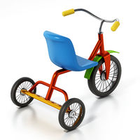 Child bicycle or tricycle isolated on white background. 3D illustration