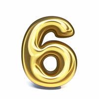 Golden font Number 6 SIX 3D