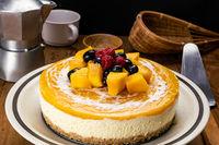 View of delicious homemade mango cheesecake.