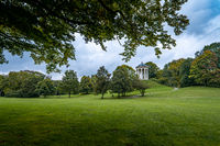Green Meadow in the Englisher Garten of Munich. The heath of bavaria in the beginning of the fall season, idyllic peace of earth.