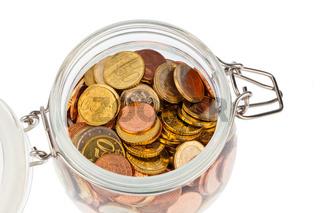 Glas mit Euromünzen