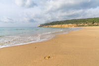 peaceful sandy beach with gentle waves and tree covered cliffs in the background and white puffy clouds above