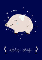 Poster with cute mini pig and stars. Vector illustration.