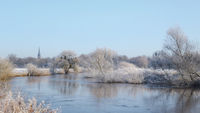Hanover - Middle Leineaue, wintry river landscape, Germany