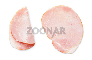 Sliced Smoked Pork Loin Isolated On White