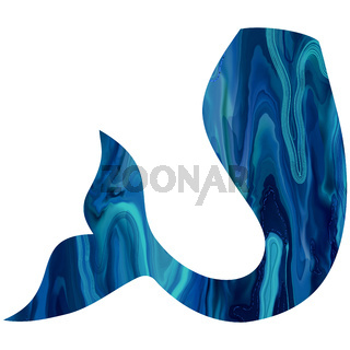 Blue mermaid Tail hand-drawn illustration.