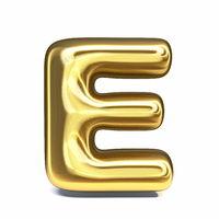 Golden font Letter E 3D