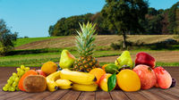Composition Of Fruits. delicious ripe fruits on table