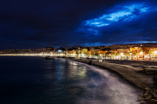 City of Nice Skyline at Night in France