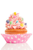 Pink cupcake on white background