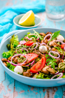 Vegetable salad with roasted champignons and mozzarella cheese with onions