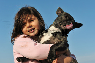 french bulldog and child