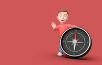 Kid 3D Cartoon Character Leaning on a Metallic Compass on Red with Copy Space