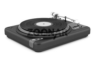 black turntable isolated on white background