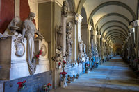 Corridor with old tombs - beginning 1800 - located in Genoa cemetery - Italy