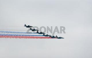 Su-25 planes paint Russian flag
