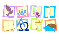 Symbols baptism, confirmation, communion