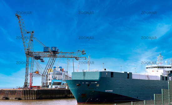 In the harbour of Bremerhaven, in the background the new Odyssey of the Seas