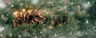 Fir branch with golden lights and pin cone christmas decoration border