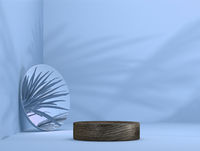 abstract wooden template as presentation stage with leaf shadow and mirror in front of background - 3D Illustration