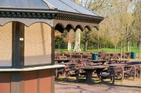 closed outdoor restaurant during a lockdown during the Corona pandemic in a park in Germany