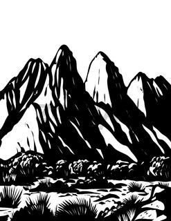 Organ Mountains-Desert Peaks National Monument in Las Cruces New Mexico USA WPA Black and White Art