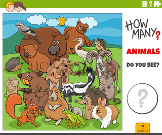 how many cartoon animals educational game for children
