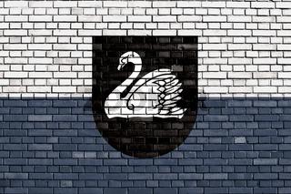 flag of Gulbene, Latvia painted on brick wall