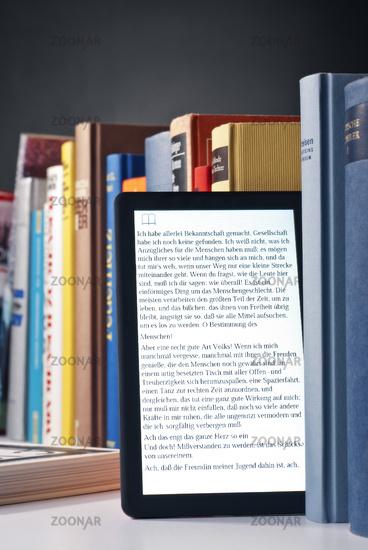 E-book reader and printed books