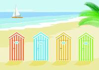 Vacation on the beach, with seashore, illustration,