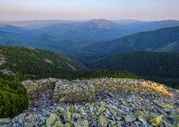 Summer Carpathian mountains evening view. Stony Gorgany massif, Ukraine.
