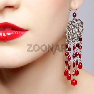 beautiful woman in ear-rings