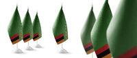Set of Zambia national flags on a white background