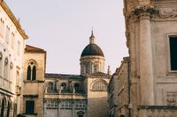 Cathedral of the Assumption of the Virgin Mary in the old city of Dubrovnik Dubrovnik. Church with a large dome.