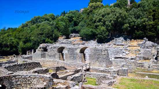 Panoramic view to agora and theatre ruins of ancient town of Butrint , Sarande, Albania