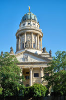 View of the French cathedral at the Gendarmenmarkt in the center of Berlin