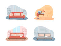 Living room and bedroom 2D vector isolated illustration